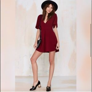 Nasty Gal Deep Red V-Neck Mini Dress